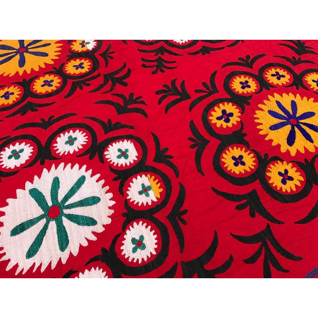 Handmade Red Suzani Textile - Image 6 of 6
