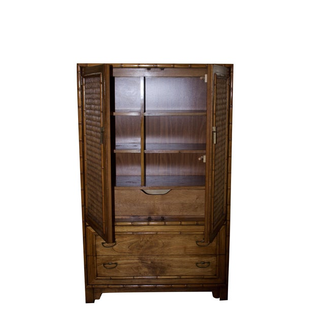 Mid-Century Faux-Bamboo Armoire by Lane Furniture - Image 4 of 8