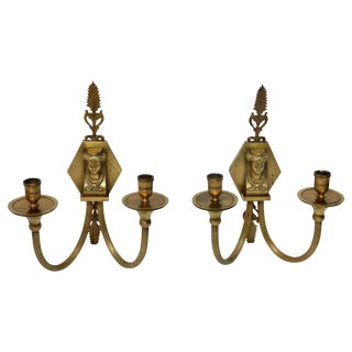 Antique Brass 2 Arm Wall Sconces - A Pair