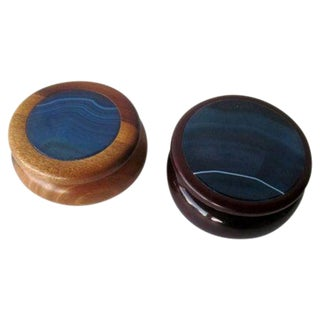 Wood Trinket Jewelry Boxes Stone Inlay - A Pair