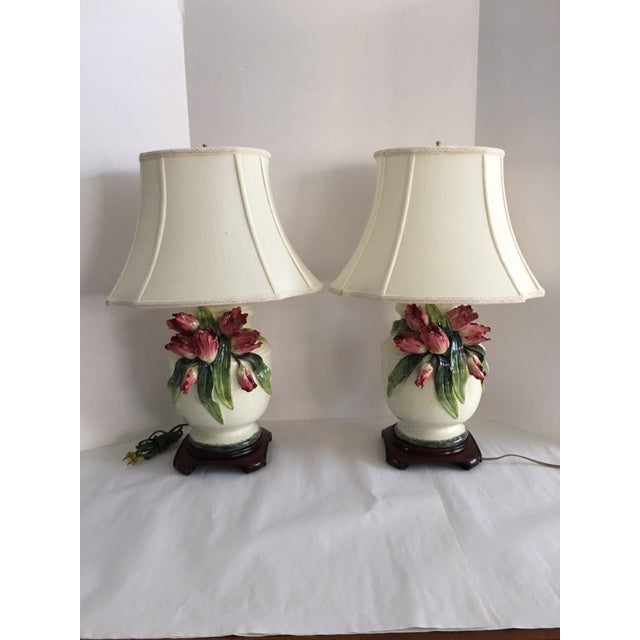 Anne Vosseller Porcelain Ginger Jar Parrot Tulip Barbotine Lamp - a Pair - Image 2 of 11