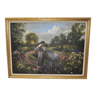 Daniel J Maffia Flowering Garden Path Oil Painting