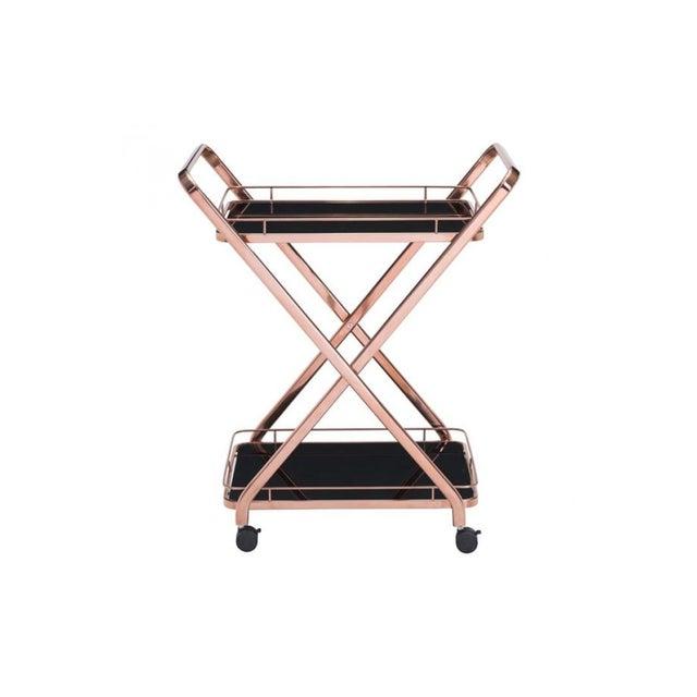 Rose Gold & Black Glass Bar Cart - Image 2 of 4