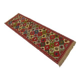 Vintage Turkish Handmade Sumac Kilim Runner- 2′ × 6′4″