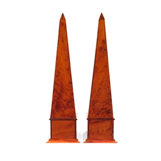 19th C. Large Burl Walnut Obelisks - A Pair