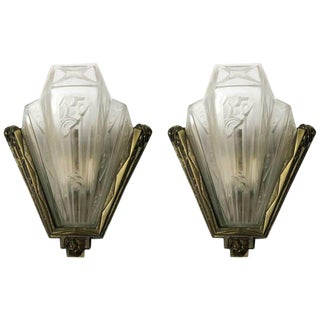 Pair of French Art Deco Geometric Sconces Signed by Gilles