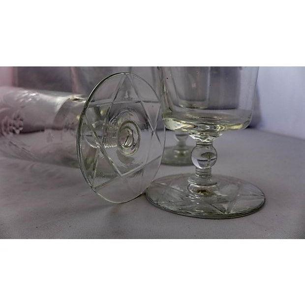 Image of Vintage Etched Floral Pattern Glasses - Set of 4