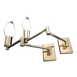 Hinson Lighting Brass Double Swing Arm Wall Lamp With Dimmer - Pair