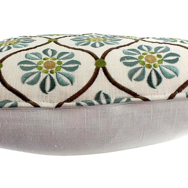 Silk & Linen Embroidered Lattice Pillow - Image 3 of 4
