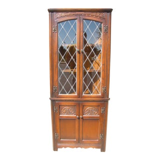 Chestnut Leaded Glass Corner Cabinet
