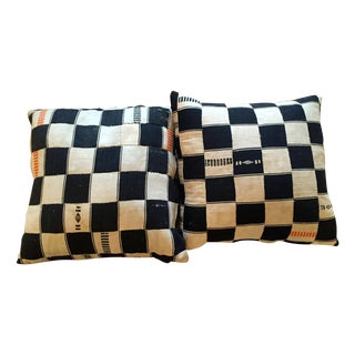 Black and Cream Checkered Pillow