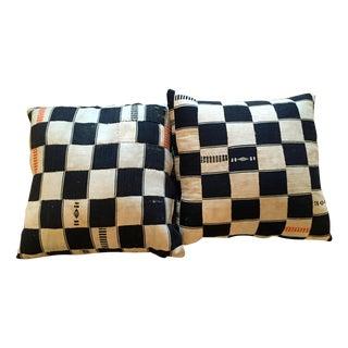 Black and Cream Checkered Pillow