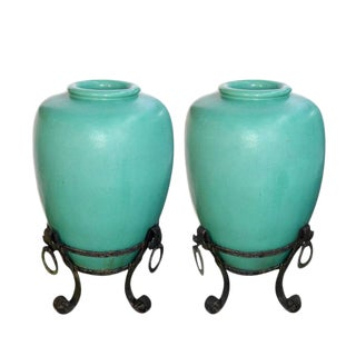 Large American Glazed Pottery Urns on Wrought Iron Stands - A Pair