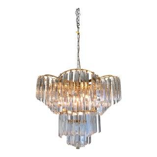 Brass and Glass 5-Light Chandelier