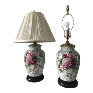 Wildwood Vintage Hand Painted Table Lamps - A Pair