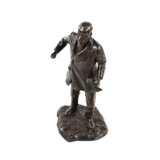 "1920s ""Man Clenching His Fists"" Bronze Sculpture"