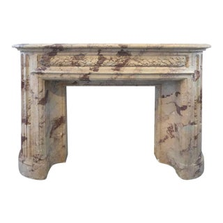 Turn of the Century Italian Terracotta Faux-Marble Fireplace