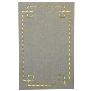 Greek Key Nail Head Cork Board in Gray