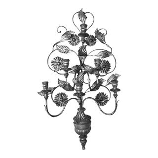 Italian 19th Century Silvered Six-Arm Tole Sconce