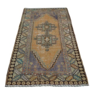Antique Turkish Faded Rug - 3′7″ × 6′2″