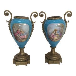 Bronze & Porcelain Vases - A Pair