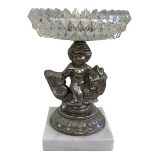 Vintage Crystal & Marble Cherub on Dolphin Compote