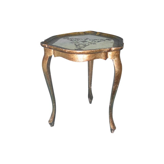 Image of White & Gold Florentine Small Side Table