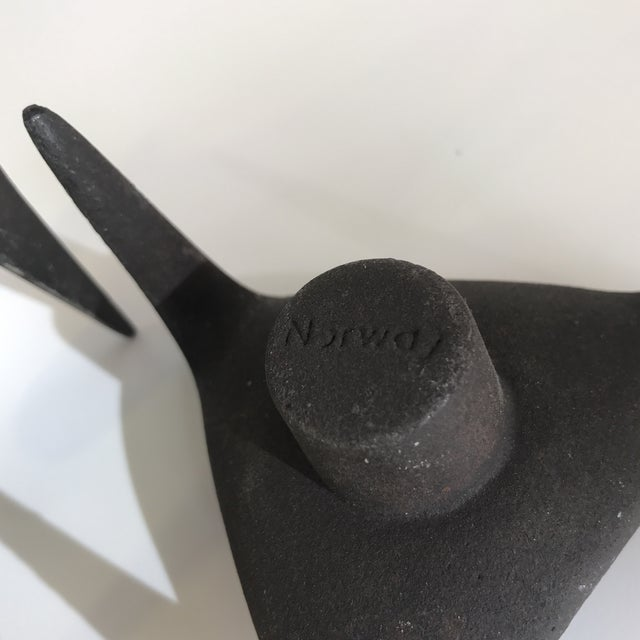 Norway Modernist Cast Iron Candle Holders - A Pair - Image 5 of 5