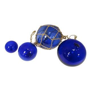 Cobalt Blue Fishing Floats - Set of 4