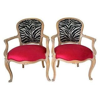 French Style Zebra & Fuchsia Velvet Chairs - Pair