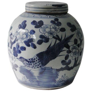 Blue & White Porcelain Chinoiserie Bird Jar