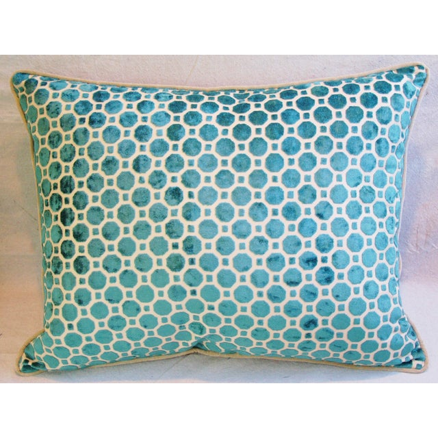 Turquoise Geometric Dot Velvet Feather/Down Pillow - Image 3 of 7