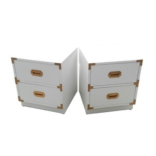 White Lacquer Campaign Nightstands - A Pair
