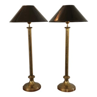 Hollywood Regency Brass Candlestick Lamps - A Pair