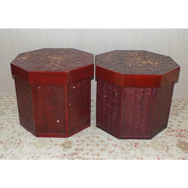 """Image of Antique 16"""" Tall Chinese Red Storage Stools"""