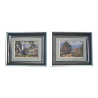 Australian Miniature Landscape Paintings - A Pair