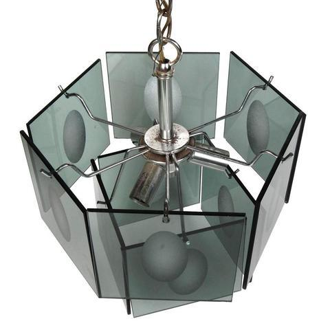 1960s Italian Smoked Glass Two Tier Chandelier - Image 3 of 4