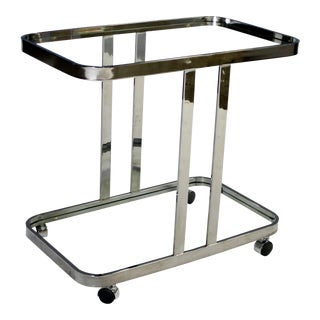1970s Milo Baughman Chrome Bar Cart