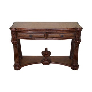 Faux Bamboo Rattan Leather Top Console Table