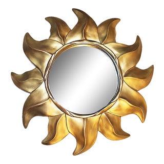 Gold Sunflower Framed Round Mirror