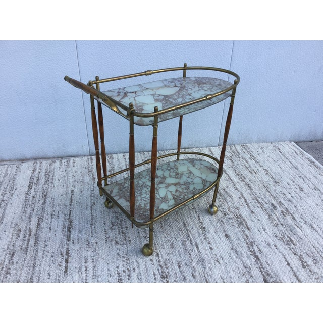 1950s Italian Brass & Walnut Bar Cart - Image 5 of 11