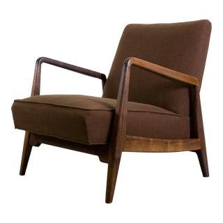 Jens Risom U420 Walnut Upholstered Low Armchair 1949