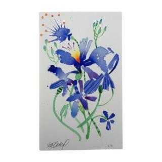 """Steve Klinkel """"Firefly Lilies 2"""" Original Watercolor Painting"""