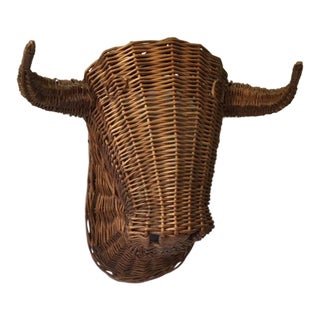 Mid Century Wicker Taxidermy Bull Wall Hanging