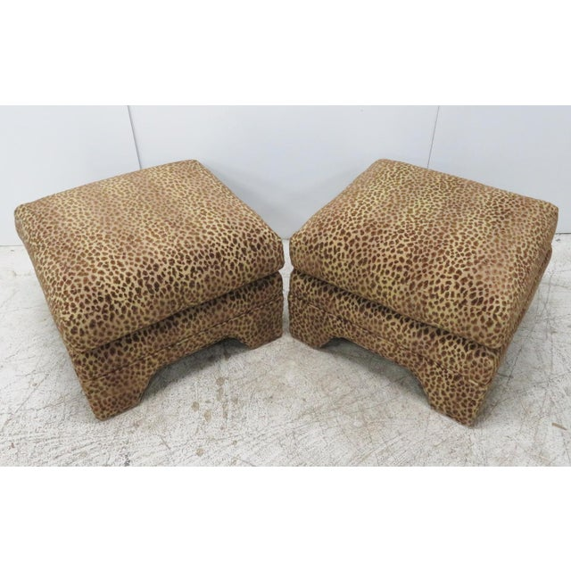 Leopard Upholstered Ottomans - A Pair - Image 3 of 5