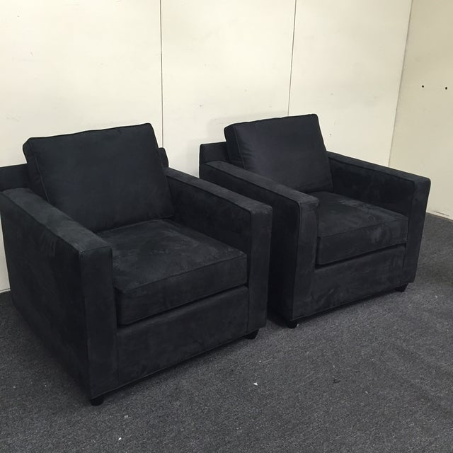 Crate & Barrel Black Microsuede Armchairs - A Pair - Image 2 of 7