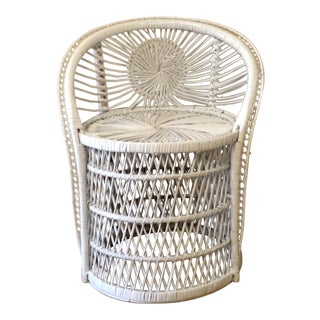 Vintage Small Peacock Wicker Rattan Fan Chair