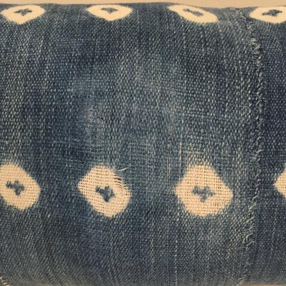 Vintage African Textile Indigo Lumbar Pillow - Image 4 of 5