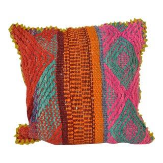 Peruvian Orange, Pink & Blue Frazada Pillow Cover
