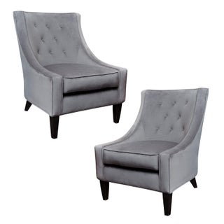 Charcoal Grey Velvet Lounge Chairs - A Pair